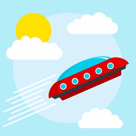 Flying alien ship concept background. Flat illustration of flying alien ship vector concept background for web design