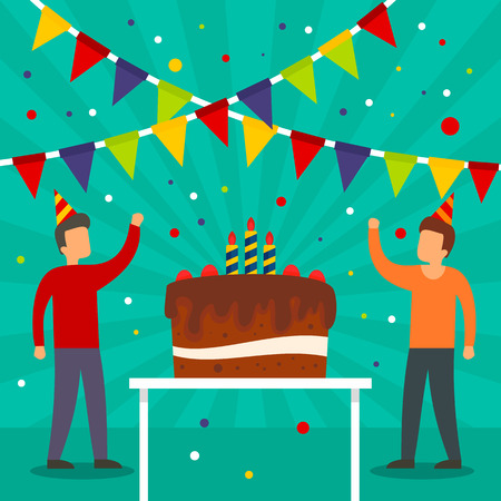 Birthday party concept background. Flat illustration of birthday party vector concept background for web design
