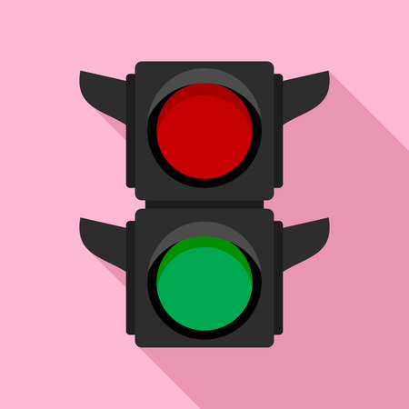 Pedestrian traffic lights icon. Flat illustration of pedestrian traffic lights vector icon for web design