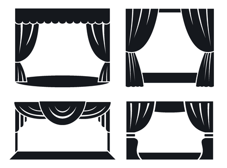 Theatrical stage icon set. Simple set of theatrical stage vector icons for web design on white background Illustration
