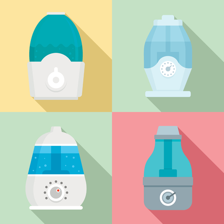 Humidifier icon set. Flat set of humidifier vector icons for web design