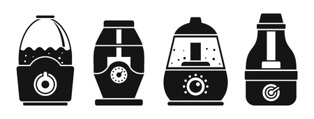 Air humidifier icon set. Simple set of air humidifier vector icons for web design on white background