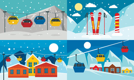 Ski resort banner set. Flat illustration of ski resort vector banner set for web design
