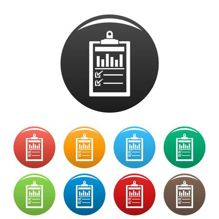 Checklist graph icons set 9 color vector isolated on white for any design