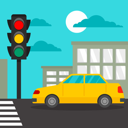 Taxi car at crosswalk concept background. Flat illustration of taxi car at crosswalk vector concept background for web design