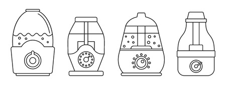 Home humidifier icon set. Outline set of home humidifier vector icons for web design isolated on white background