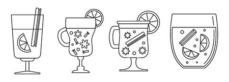 Honey mulled wine icon set. Outline set of honey mulled wine vector icons for web design isolated on white background Illustration
