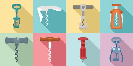 Corkscrew icon set. Flat set of corkscrew vector icons for web design
