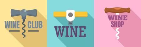 Corkscrew   set. Flat set of corkscrew vector  for web design Illustration