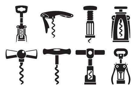 Corkscrew opener icon set. Simple set of corkscrew opener vector icons for web design on white background