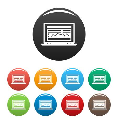 Laptop finance graph icons set 9 color vector isolated on white for any design Illustration