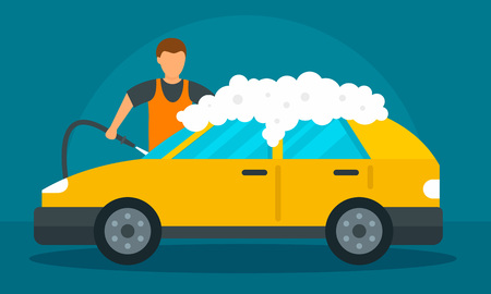 Man foam car wash concept background. Flat illustration of man foam car wash vector concept background for web design