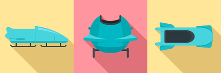 Bobsleigh icon set. Flat set of bobsleigh vector icons for web design