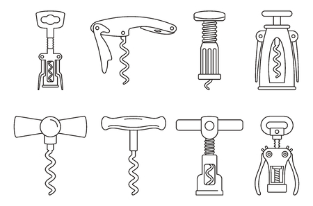 Home corkscrew icon set. Outline set of home corkscrew vector icons for web design isolated on white background
