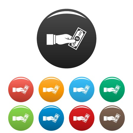 Bribery give money icons set 9 color vector isolated on white for any design