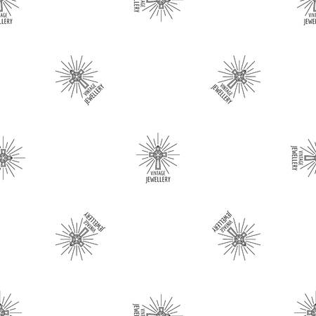 Vintage jewellery pattern seamless vector repeat geometric for any web design