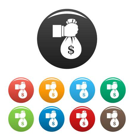 Corruption money bag icons set 9 color vector isolated on white for any design