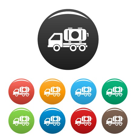 Petrol truck icons set 9 color vector isolated on white for any design