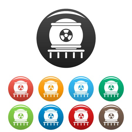 Nuclear energy icons set 9 color vector isolated on white for any design Vettoriali