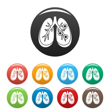 Bronchitis lungs icons set 9 color vector isolated on white for any design