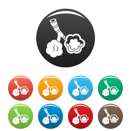 Alveolus disease icons set color Illustration