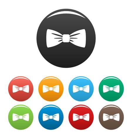 Bow tie icons set color