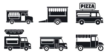 Jeu d'icônes de camion de nourriture de marché. Ensemble simple d'icônes vectorielles de camion de nourriture de marché pour la conception web sur fond blanc