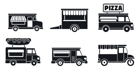 Market food truck icon set. Simple set of market food truck vector icons for web design on white background Vectores