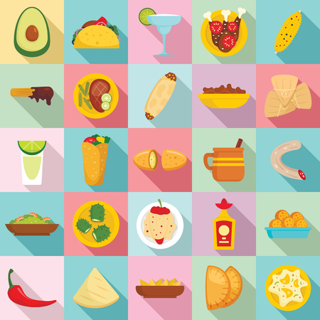 Mexican food icon set. Flat set of mexican food vector icons for web design