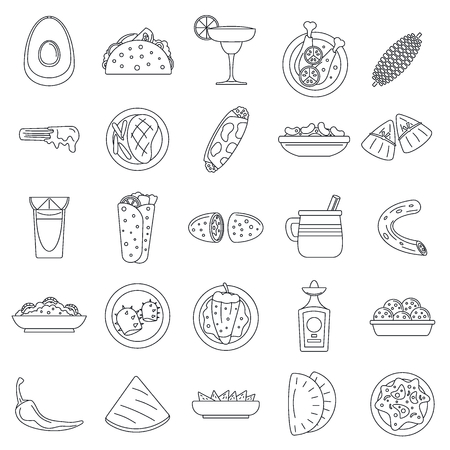Healthy mexican food icon set. Outline set of healthy mexican food vector icons for web design isolated on white background