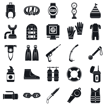 Diving equipment icon set. Simple set of diving equipment vector icons for web design on white background