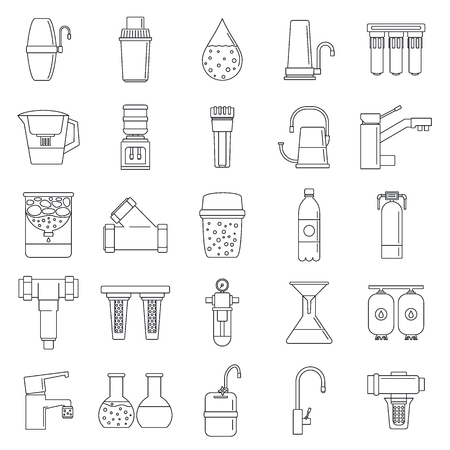 Filter water system icon set. Outline set of filter water system vector icons for web design isolated on white background Иллюстрация