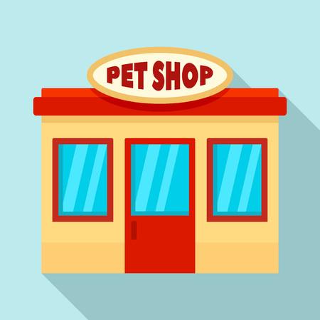 Pet street shop icon. Flat illustration of pet street shop vector icon for web design