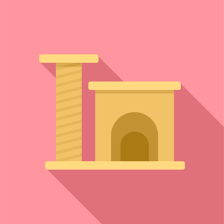 Cat play house icon. Flat illustration of cat play house vector icon for web design