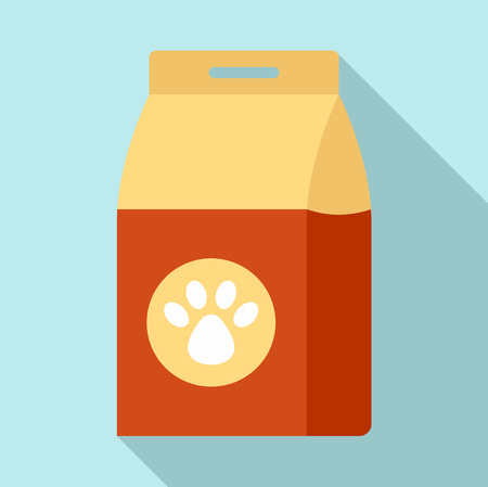 Carton dog packet icon. Flat illustration of carton dog packet vector icon for web design