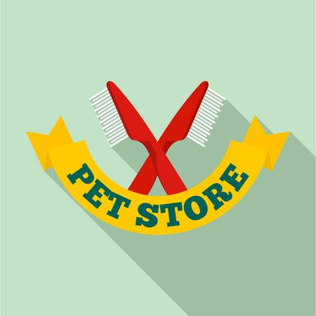 Pet brush logo. Flat illustration of pet brush vector logo for web design