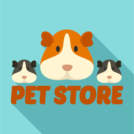 Cavy pet store. Flat illustration of cavy pet store vector for web design