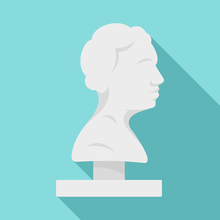 Bust of the ancient writer icon. Flat illustration of bust of the ancient writer vector icon for web design