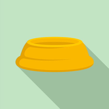 Pet food plate icon. Flat illustration of pet food plate vector icon for web design