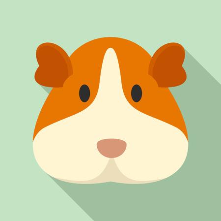 Cavia-Gesichtssymbol. Flache Illustration der Meerschweinchengesichtsvektorikone für Webdesign