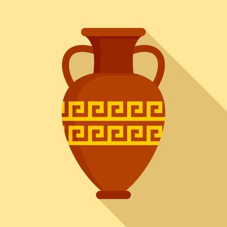 Icône de vase antique, style plat Vecteurs