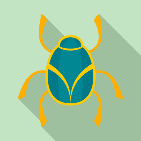 Golden bug icon, flat style Illustration