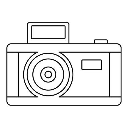 Vintage photo camera icon. Outline vintage photo camera vector icon for web design isolated on white background Çizim