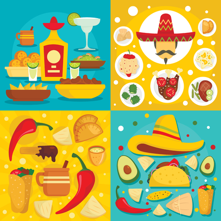 Taco mexican food banner set, flat style