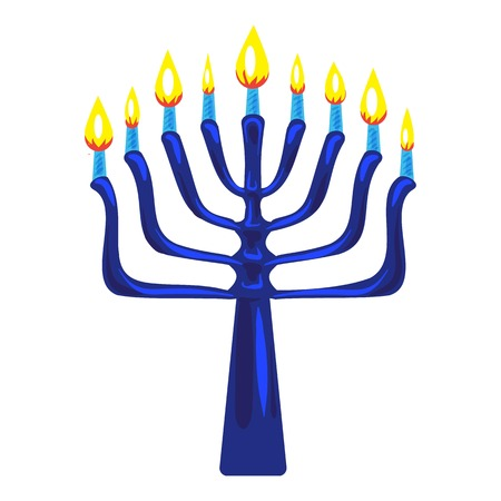 Blue menorah icon, cartoon style 矢量图像