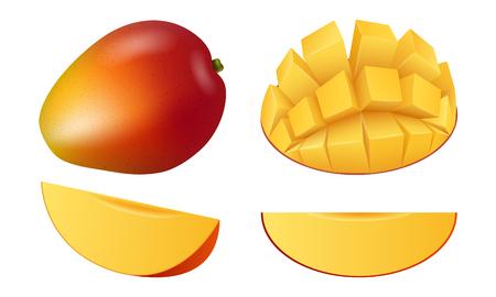 Set di icone di frutta mango, stile realistico Vettoriali