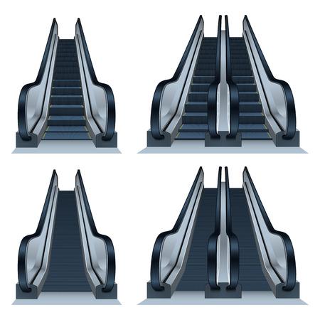 Escalator icon set. Realistic set of escalator vector icons for web design Ilustração