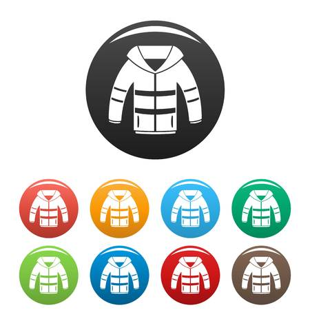 Winter jacket icons set 9 color vector isolated on white for any design