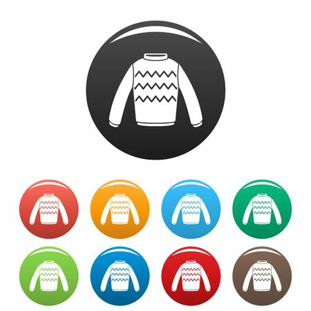Winter sweater icons set color 스톡 콘텐츠