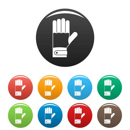 Winter gloves icons set 9 color vector isolated on white for any design Иллюстрация